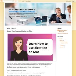 MacBook Support UK 08000903837 (Toll Free): Learn How to use dictation on Mac