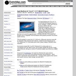 """MacBook Air """"Core i5"""" 1.3 13"""" (Mid-2013) Specs (Mid-2013, MD760LL/A*, MacBookAir6,2, A1466, 2632)"""