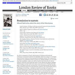 LRB · Edward Said · Permission to narrate