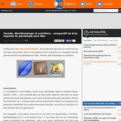 Heredis, MacGénéalogie et omhiGene : comparatif de trois logiciels de généalogie pour Mac