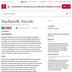 """Machiavelli, Niccolo in """"Il Contributo italiano alla storia del Pensiero: Filosofia"""""""