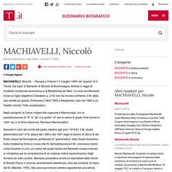 """MACHIAVELLI, Niccolò in """"Dizionario Biografico"""""""