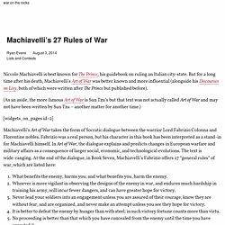Machiavelli's 27 Rules of War