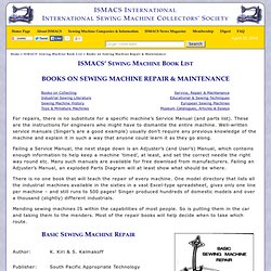 Sewing Machine Booklist - Books on Sewing Machine Repair & Maintenance
