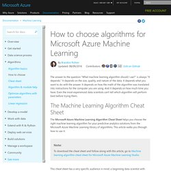 How to choose machine learning algorithms