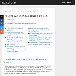 16 Best Free Machine Learning Books in June 2016 - Hacker Lists