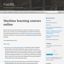 Machine learning courses online