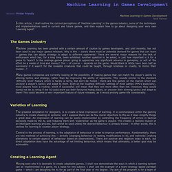 Machine Learning in Games Development