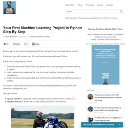 Your First Machine Learning Project in Python Step-By-Step