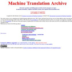 Machine Translation Archive - home page