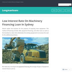 Low Interest Rate On Machinery Financing Loan In Sydney – Longmanloans