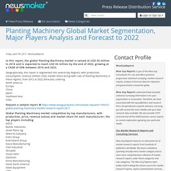 Planting Machinery Global Market Segmentation, Major Players Analysis and Forecast to 2022