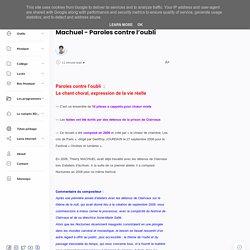Machuel - Paroles contre l'oubli