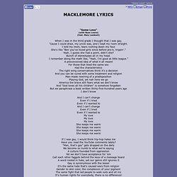 MACKLEMORE LYRICS - Same Love