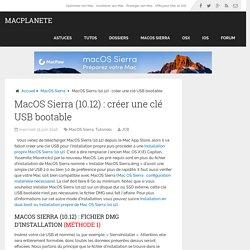 MacOS Sierra (10.12) : créer une clé USB bootable