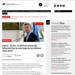 """Macri: """"En los 12 últimos meses [la inflación] fue la más baja de los últimos siete años"""""""