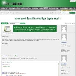 Macro envoi de mail Automatique depuis excel