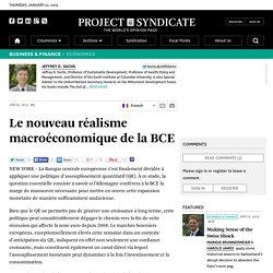 Le nouveau réalisme macroéconomique de la BCE by Jeffrey D. Sachs