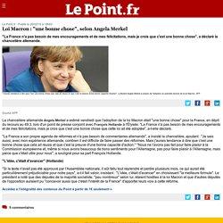 """Loi Macron : """"une bonne chose"""", selon Angela Merkel"""