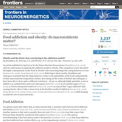 Food Addiction and Obesity: Do Macronutrients Matter?