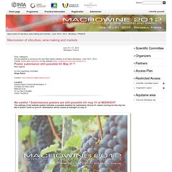 Macrowine 2012 - Macrovision of viticulture, wine-making and markets - June 18>21, 2012 - Bordeaux, FRANCE