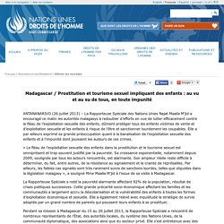 Madagascar / Prostitution et tourisme sexuel impliquant des enfants : au vu et au su de tous, en toute impunité
