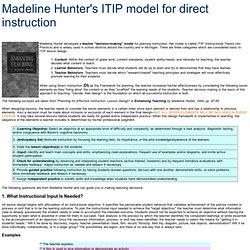 Madeline Hunter's ITIP model