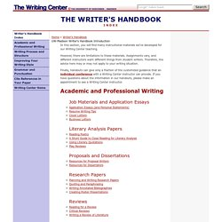 UW-Madison Writing Center Writer's Handbook: index