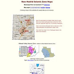 New Madrid Zone sismique - cartes de l'activité séisme passé