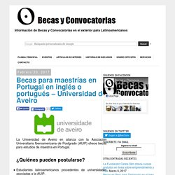 Becas para maestrías en inglés o portugués en Portugal - Universidad de Aveiro