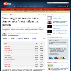 Time magazine readers name Anonymous 'most influential person'