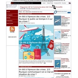 Magazine de la Communication de crise et sensible et de la gesti