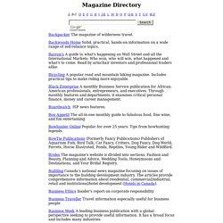Magazine Directory - Magazines Online