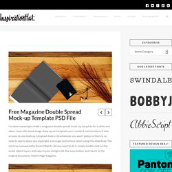 Free Magazine Double Spread Mock-up Template PSD File