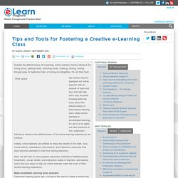 Tips and Tools for Fostering a Creative e-Learning Class
