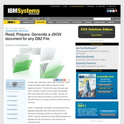 Read, Prepare, Generate a JSON document for any DB2 File