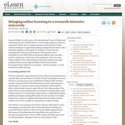 Bringing online learning to a research-intensive university