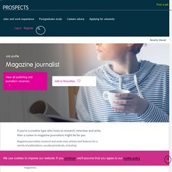 Magazine journalist job profile