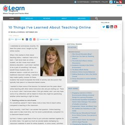 10 Things I've Learned About Teaching Online