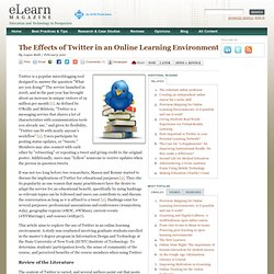 The Effects of Twitter in an Online Learning Environment