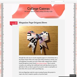 Magazine Page Origami Bows