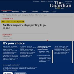Another magazine stops printing to go online | Media