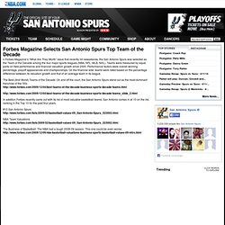 SPURS: Forbes Magazine Selects San Antonio Spurs Top Team of the