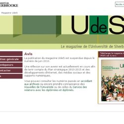 À la une – Magazine UdeS vol. 3, no 1 – Université de Sherbrooke