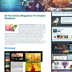25 Free Online Magazines For Graphic Designers Round-Up - Web De