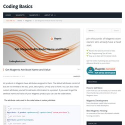 Get Magento Attribute Name and Value - Coding Basics