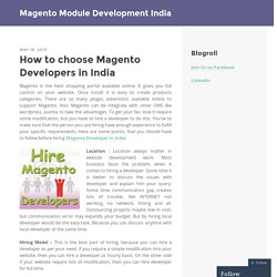 How to choose Magento Developers in India