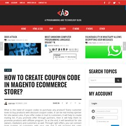 How To Create Coupon Code In Magento Ecommerce Store? | AskDeveloper.Net Blog