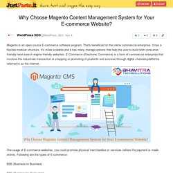 Why Choose Magento Content Management System for Your E-commerce Website?