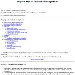 MAGER'S TIPS ON INSTRUCTIONAL OBJECTIVES